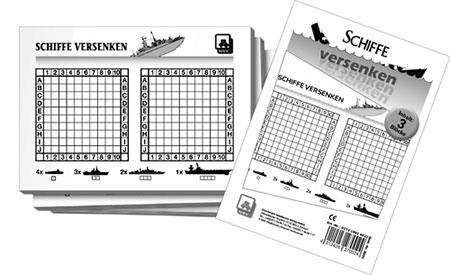 Schiffe versenken Spielblock 3er