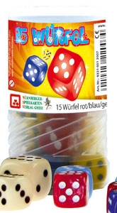 15 Würfel rot, blau, gelb im Drehpack