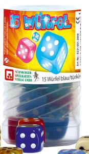 15 Würfel blau, türkis, pink im Drehpack