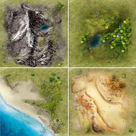 Spielmatten Set Landschaften (90 x 90 cm) 4 Stück