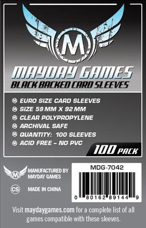 Mayday - 100 Kartenhüllen Euro Standard Schwarz für Kartengröße 59 x 92 mm