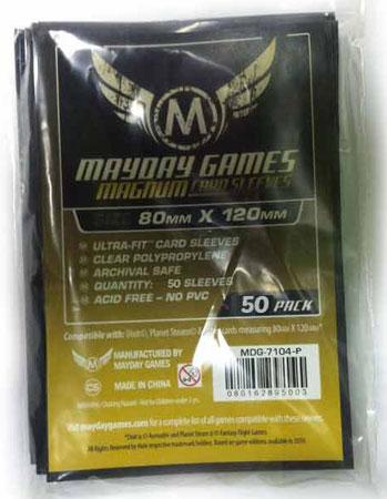 Mayday - 50 Kartenhüllen Premium Magnum schwarz für Kartengröße 80 x 120 mm