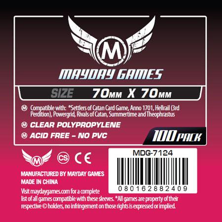 Mayday - 100 Kartenhüllen quadratisch klein für Kartengröße 70 x 70 mm