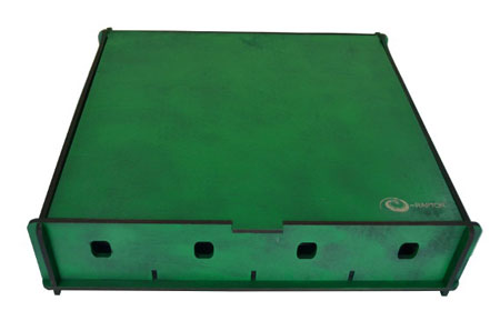 e-Raptor grüne Aufbewahrungsbox (Holz)