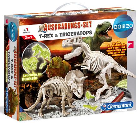"""Galileo - Ausgrabungsset """"T-Rex & Triceratops"""" 2in1 nachtleuchtend (ExpK)"""