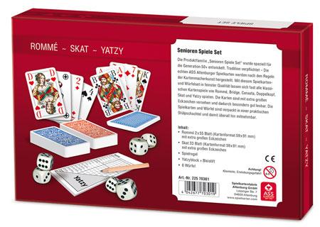Spieleset - Rommé/ Skat/ Yatzy mit extra großen Eckzeichen