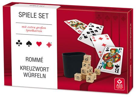 Spieleset - Rommé/ Kreuzwortwürfeln mit extra großen Karten