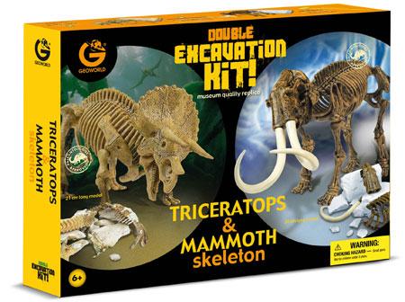 Doppel-Ausgrabungsset - Triceratops und Mammut (ExpK)