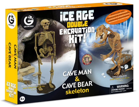 Doppel-Ausgrabungsset - Eiszeit - Höhlenmensch und Höhlenbär (ExpK)