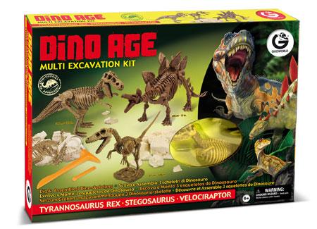 Multi - Ausgrabungsset - T-Rex, Stegosaurus und Velociraptor (ExpK)