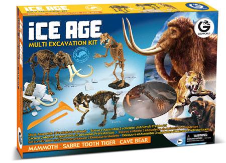 Multi - Ausgrabungsset - Mammut, Säbelzahntiger und Höhlenbär (ExpK)