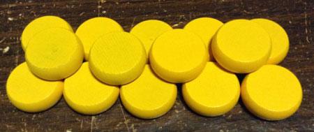 Crokinole - Spielsteine - Mini gelb (Holz)