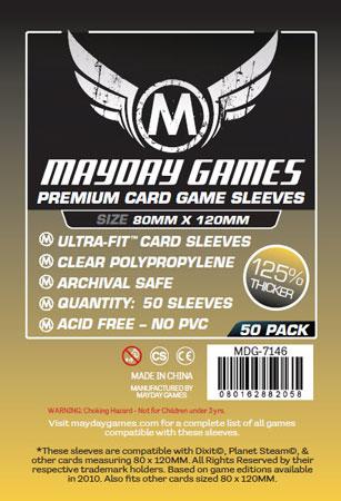 Mayday - 50 Kartenhüllen Premium Magnum gold für Kartengröße 80 x 120 mm