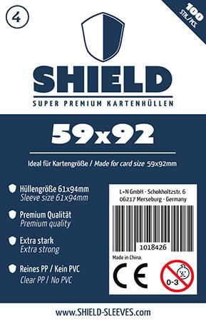 Shield - 100 Super Premium Kartenhüllen für Kartengröße 59 x 92 mm
