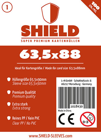 Shield - 100 Super Premium Kartenhüllen für Kartengröße 63,5 x 88 mm