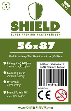 Shield - 100 Super Premium Kartenhüllen für Kartengröße 56 x 87 mm