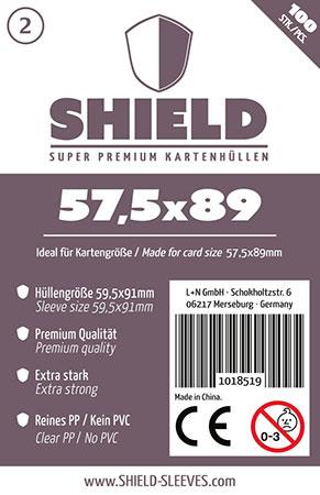 Shield - 100 Super Premium Kartenhüllen für Kartengröße 57,5 x 89 mm