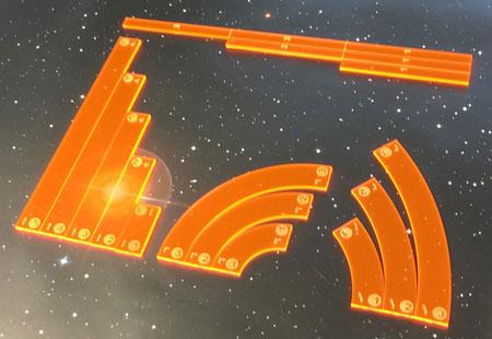GeekMod - Star Wars X-Wing - Maßstab und Manöverschablonen aus Acryl (orange)