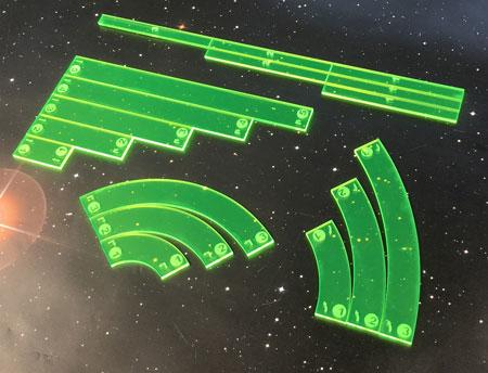 GeekMod - Star Wars X-Wing - Maßstab und Manöverschablonen aus Acryl (grün)