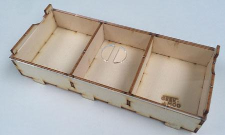 GeekMod - mittlere Sortierbox aus Holz mit 3 Fächern
