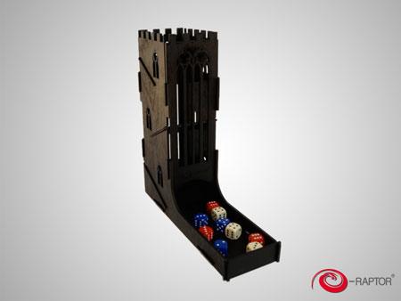 e-Raptor Würfelturm Black Castle aus Holz (schwarz)