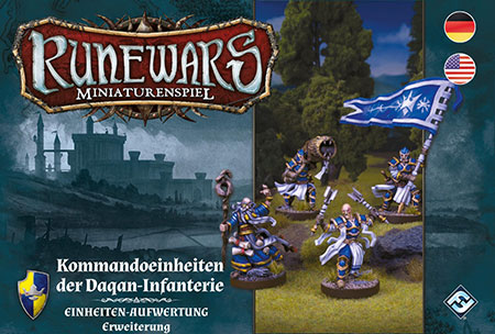 Runewars - Miniaturenspiel - Kommandoeinheiten der Daqan-Infanterie Einheiten-Aufwertung Erweiterung