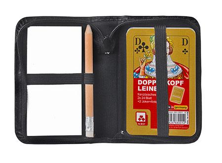Doppelkopf - Premium Leinen im Lederetui