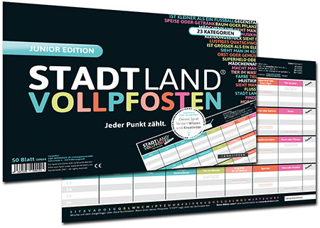 Stadt Land Vollpfosten - Junior Edition (DINA4-Format)