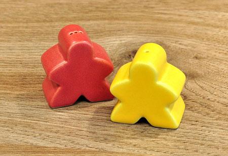 Salz- und Pfefferstreuer - Carcassonne-Paar rot/gelb - klein