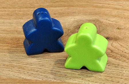 Salz- und Pfefferstreuer - Carcassonne-Paar blau/grün - klein