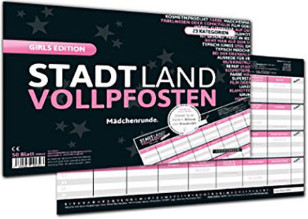 Stadt Land Vollpfosten - Girls Edition (DINA4-Format)