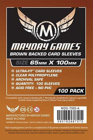 Mayday - 100 Kartenhüllen Magnum braun für Kartengröße 65 x 100 mm
