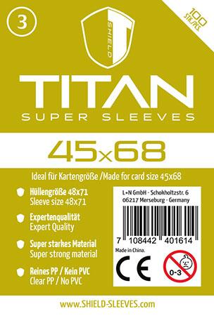Shield Titan - 100 Super Sleeves für Kartengröße 45 x 68 mm