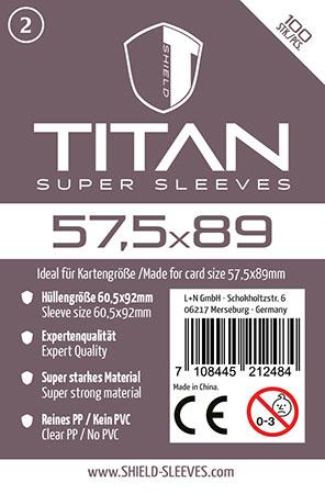 Shield Titan - 100 Super Sleeves für Kartengröße 57,5 x 89 mm