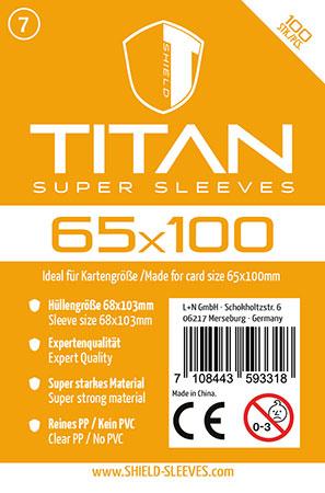Shield Titan - 100 Super Sleeves für Kartengröße 65 x 100 mm