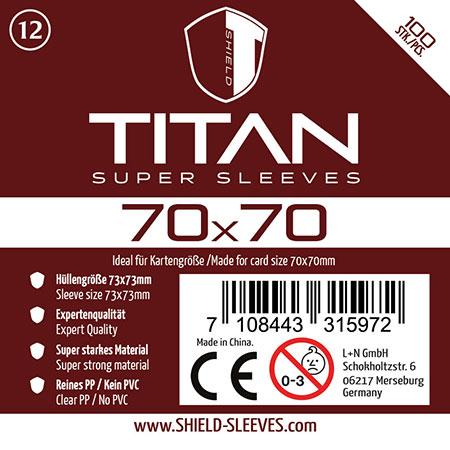 Shield Titan - 100 Super Sleeves für Kartengröße 70 x 70 mm
