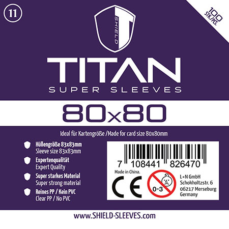 Shield Titan - 100 Super Sleeves für Kartengröße 80 x 80 mm