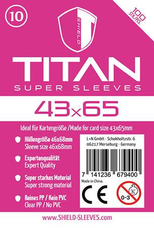 Shield Titan - 100 Super Sleeves für Kartengröße 43 x 65 mm
