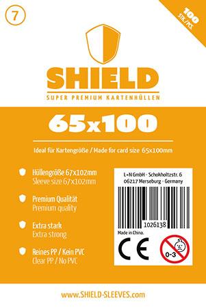 Shield - 100 Super Premium Kartenhüllen für Kartengröße 65 x 100 mm