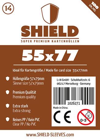Shield - 100 Super Premium Kartenhüllen für Kartengröße 55 x 77 mm