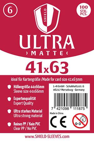 Shield Ultra Matte - 100 Super Sleeves für Kartengröße 41 x 63 mm