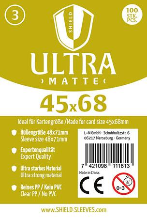 Shield Ultra Matte - 100 Super Sleeves für Kartengröße 45 x 68 mm