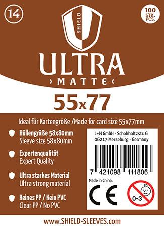 Shield Ultra Matte - (100 Päckchen) 100 Super Sleeves für Kartengröße 55 x 77 mm