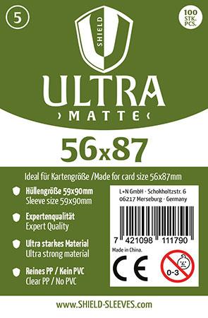 Shield Ultra Matte - 100 Super Sleeves für Kartengröße 56 x 87 mm