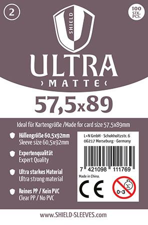 Shield Ultra Matte - 100 Super Sleeves für Kartengröße 57,5 x 89 mm