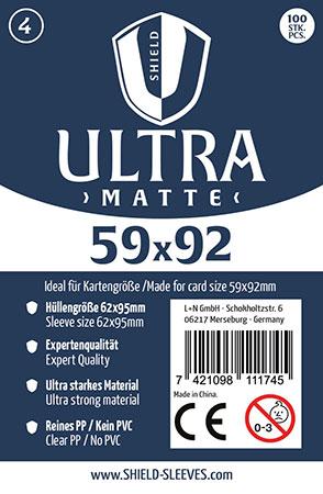 Shield Ultra Matte - 100 Super Sleeves für Kartengröße 59 x 92 mm