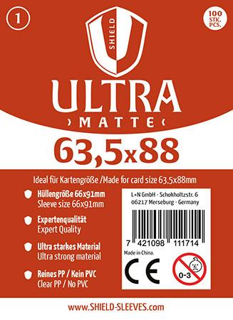 Shield Ultra Matte - 100 Super Sleeves für Kartengröße 63,5 x 88 mm