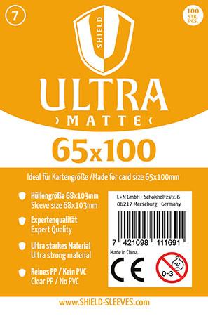 Shield Ultra Matte - 100 Super Sleeves für Kartengröße 65 x 100 mm
