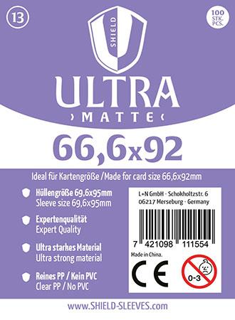 Shield Ultra Matte - (100 Päckchen) 100 Super Sleeves für Kartengröße 66,6 x 92 mm