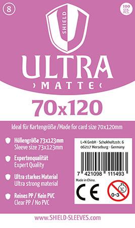 Shield Ultra Matte - 100 Super Sleeves für Kartengröße 70 x 120 mm